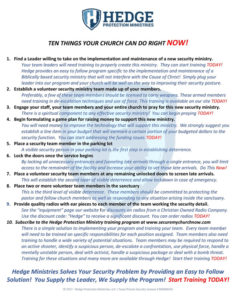 Ten Things You Can Do Now To Secure Your Church