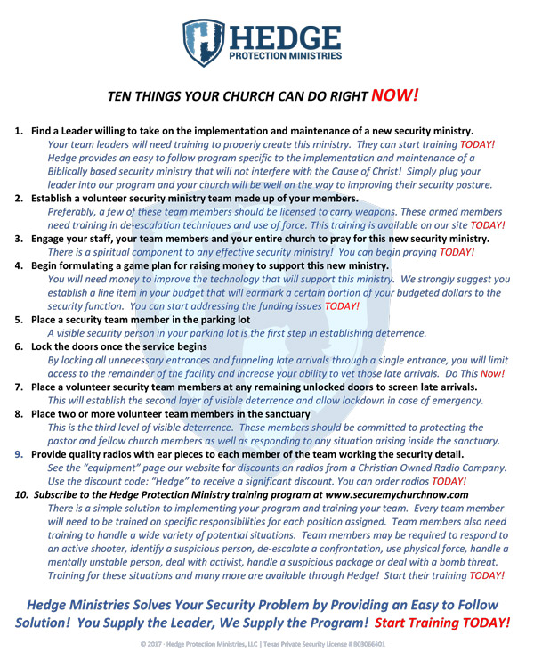 10 Things You Can Do Now To Secure Your Church
